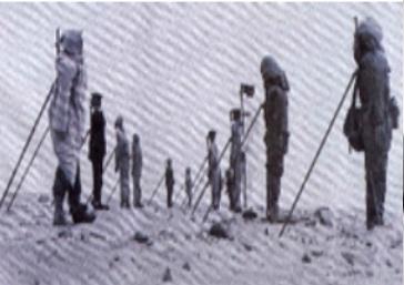 1er Avril 1960,Gerboise blanche: Mannequins?! exposés autour du point zéro.