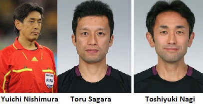 (De G à droite) Yuichi Nishimura et assistants Toru Sagara et  Toshiyuki Nagi
